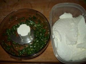 Herbs ready to go into yogurt cheese