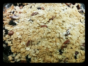 The crisp topping, oats and pecan just before going in the oven.
